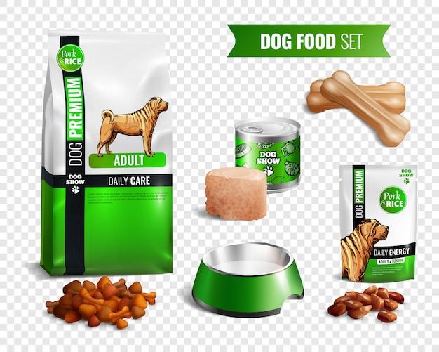 Set di icone trasparenti di cibo per cani