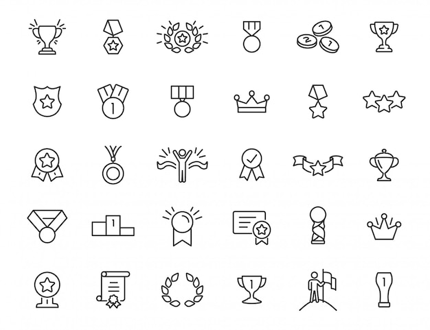 Set di icone trofeo lineare. icone premio in un design semplice. illustrazione vettoriale