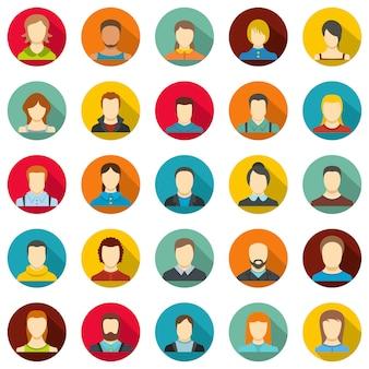 Set di icone utente di avatar, stile piatto