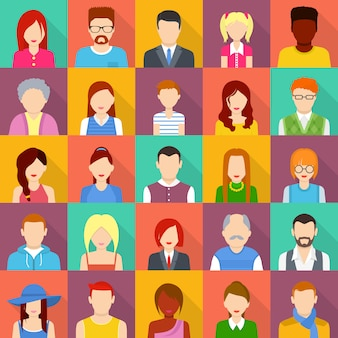 Set di icone utente di avatar. un'illustrazione piana di 25 icone dell'utente dell'avatar per il web
