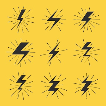 Set di icone vettoriali bulloni di fulmine