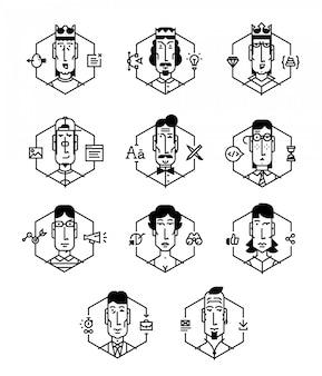 Set di icone vettoriali di persone di diverse professioni.