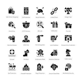 Set di icone vettoriali di protezione glifo