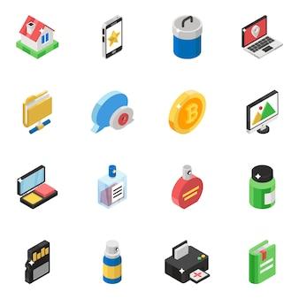 Set di icone vettoriali isometrico pack