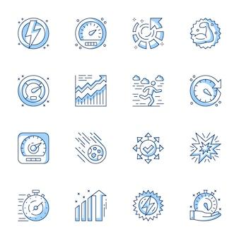 Set di icone vettoriali lineare di gestione del tempo, ottimizzazione e produttività.