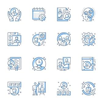 Set di icone vettoriali lineare gestione ufficio.