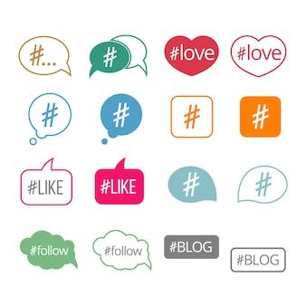 Set di icone vettoriali piatto hashtag