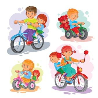 Set di icone vettoriali piccoli bambini su biciclette