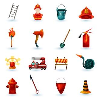 Set di icone vigile del fuoco