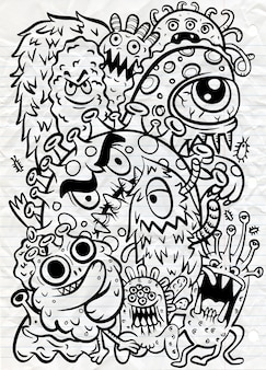 Set di icone virus corona. linea disegnata a mano illustrazione del fumetto di arte.