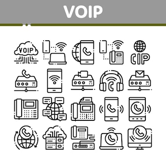 Set di icone voip calling system collection