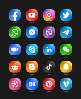 Set di icone web 3d di vetro moderno di social media