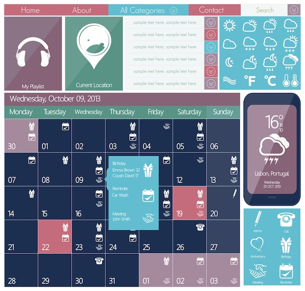 Set di icone web design piatto dell'interfaccia utente