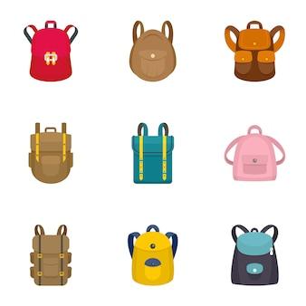 Set di icone zaino moderno. set piatto di 9 icone zaino moderno