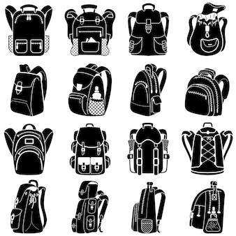 Set di icone zaino, stile semplice