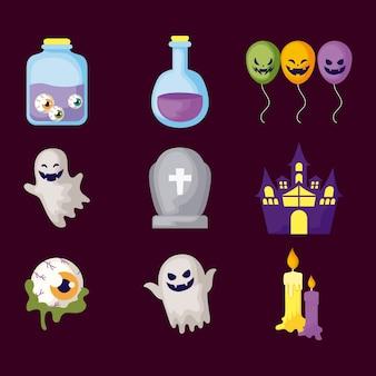 Set di icos misteri di halloween