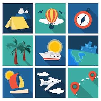 Set di idee per vacanze e viaggi