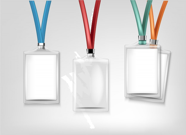 Set di identificazione badge. distintivo in plastica trasparente. modello per nome tag con cordino.