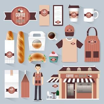 Set di identità aziendale di ristorante caffetteria