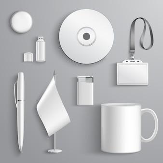 Set di identità aziendale realistica bianco