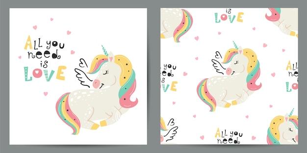 Set di illustrazione carino e seamless con unicorni