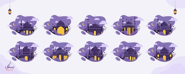 Set di illustrazione creativa ramadan design islamico arabo calligrafia testo, lanterna e falce di luna per la celebrazione musulmana del digiuno.