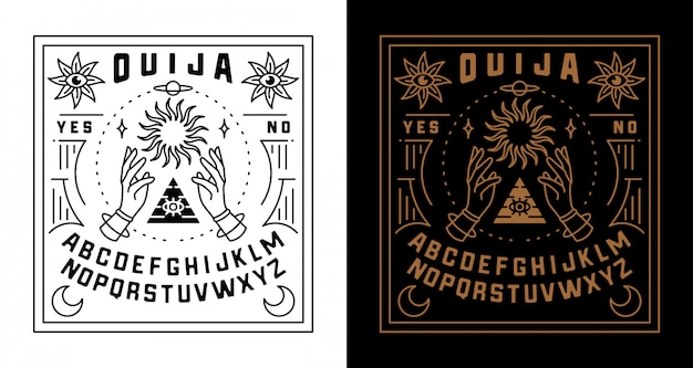 Set di illustrazione del bordo di ouija
