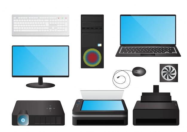 Set di illustrazione del computer
