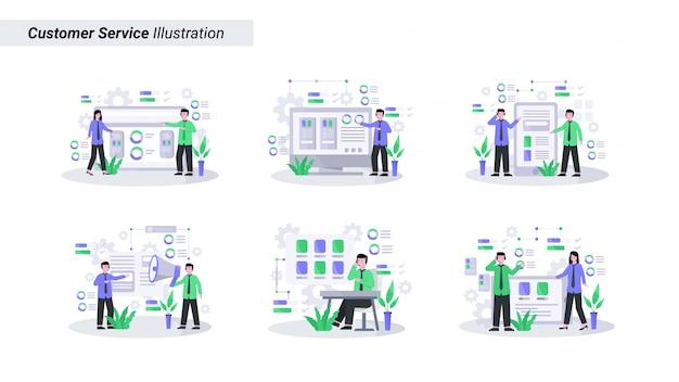 Set di illustrazione del servizio clienti sta servendo i clienti bene e amichevole via telefono e dal vivo