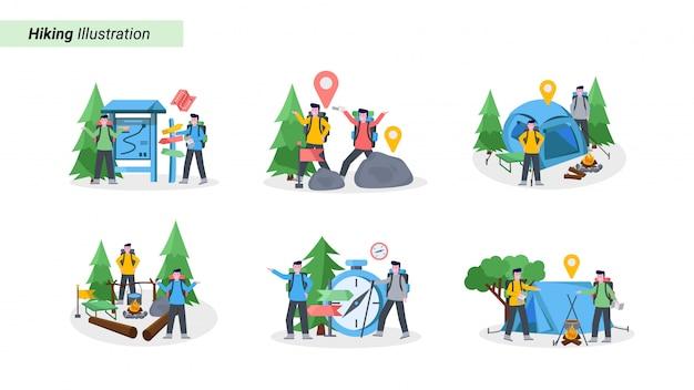 Set di illustrazione di alpinista campeggio con il suo partner