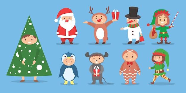 Set di illustrazione di bambini carini che indossano costumi natalizi. festa in costume di natale per bambino. celebrazione felice. babbo natale, pupazzo di neve, elfo
