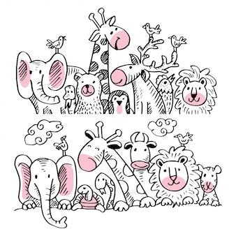 Set di illustrazione di cartone animato con simpatici animali.