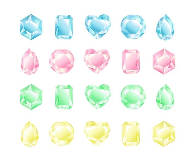 Set di illustrazione di cristalli di diverse forme e colori, collezione di diamanti, colori pastello.