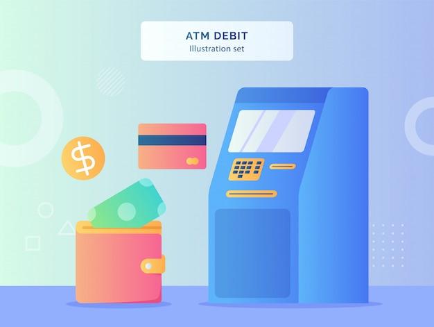 Set di illustrazione di debito bancomat bancomat nelle vicinanze della carta moneta moneta messa nel portafoglio con uno stile piatto