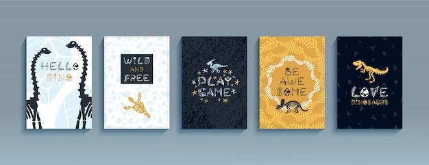 Set di illustrazione di dinosauri.