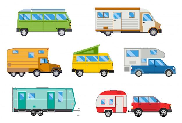 Set di illustrazione di diversi camper di viaggio piano di trasporto auto.