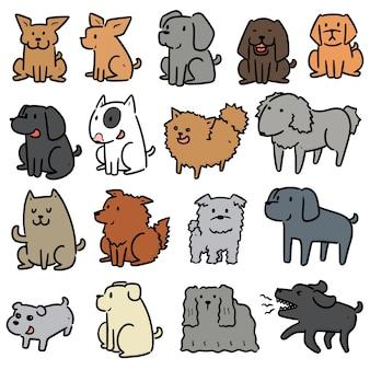 Set di illustrazione di doodle disegnato a mano del cane