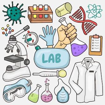 Set di illustrazione di elementi di laboratorio