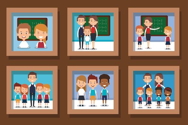 Set di illustrazione di insegnanti e piccoli studenti