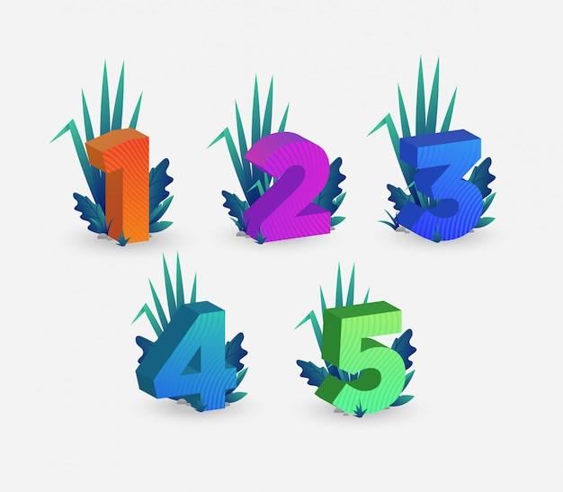 Set di illustrazione di numeri isometrici colorati