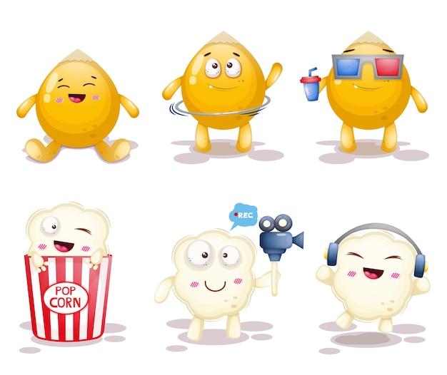 Set di illustrazione di popcorn carino.