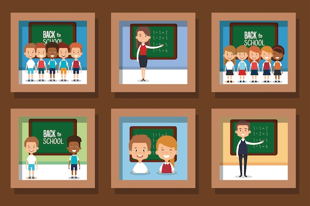 Set di illustrazione di ritorno a scuola con le persone