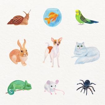 Set di illustrazione diversi animali domestici