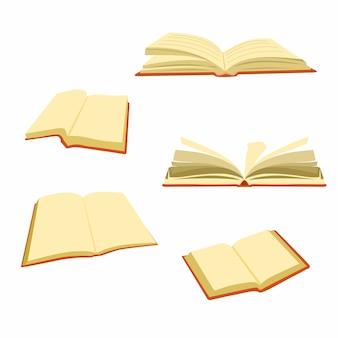 Set di illustrazione libro aperto