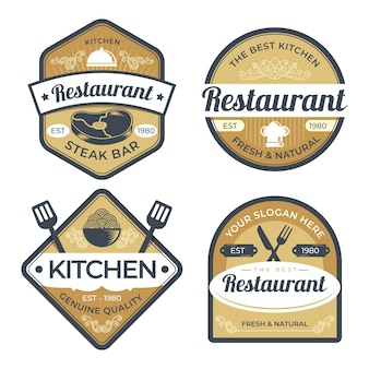 Set di illustrazione logo retrò ristorante