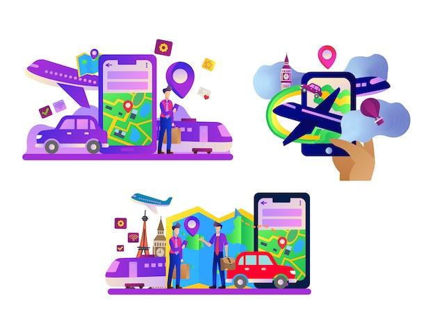 Set di illustrazione piatta di navigazione