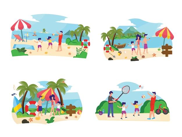 Set di illustrazione piatta spiaggia