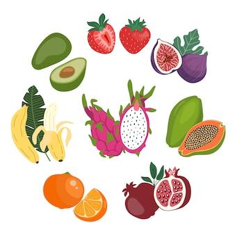 Set di illustrazione piatto carino