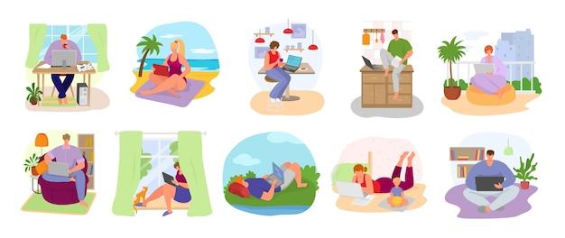 Set di illustrazione sul posto di lavoro freelance. libero professionista che lavora al computer dell'ufficio domestico. lavoro remoto di ehm, programmatore it, manager o blogger. lavoro o impresa via internet, freelance.