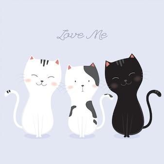 Set di illustrazione vettoriale carino gatti.